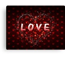 Red hearts pattern love word Canvas Print