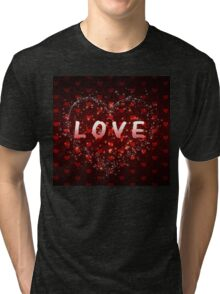 Red hearts pattern love word Tri-blend T-Shirt