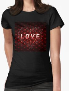 Red hearts pattern love word Womens Fitted T-Shirt