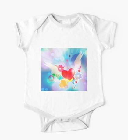 Red heart with angel wings One Piece - Short Sleeve