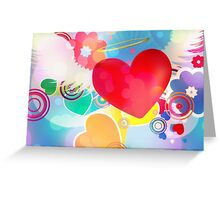 Red heart with angel wings 2 Greeting Card