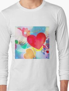 Red heart with angel wings 2 Long Sleeve T-Shirt