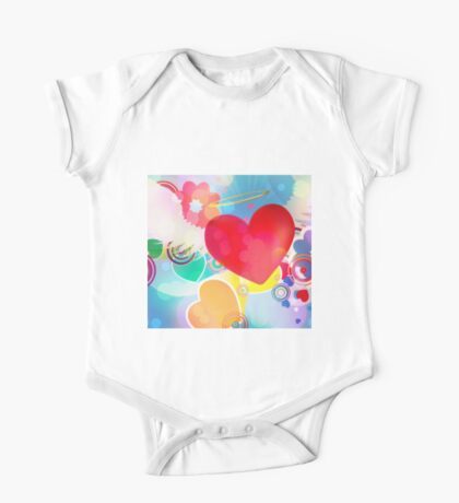 Red heart with angel wings 2 One Piece - Short Sleeve