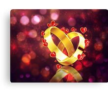 Romantic background with wedding rings Canvas Print