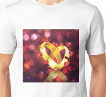Romantic background with wedding rings Unisex T-Shirt