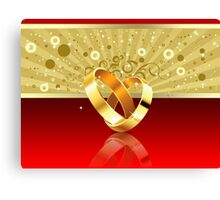Romantic background with wedding rings 2 Canvas Print