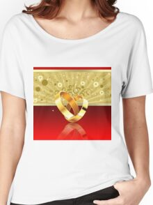 Romantic background with wedding rings 2 Women's Relaxed Fit T-Shirt