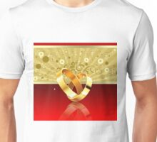Romantic background with wedding rings 2 Unisex T-Shirt