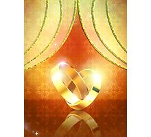 Romantic background with wedding rings 3 Photographic Print