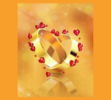 Romantic background with wedding rings 4 Unisex T-Shirt