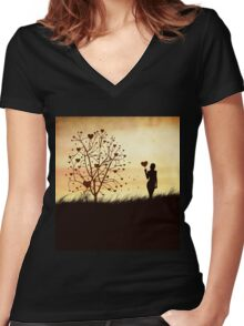 Silhouette of a girl with a heart and tree Women's Fitted V-Neck T-Shirt