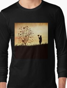 Silhouette of a girl with a heart and tree Long Sleeve T-Shirt