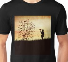 Silhouette of a girl with a heart and tree Unisex T-Shirt