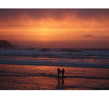 Bodyboarders at Sunset, Rossnowlagh, Co. Donegal Photographic Print