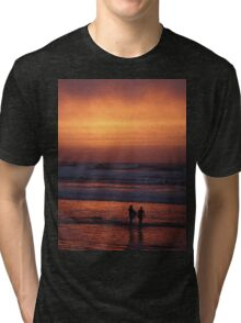 Bodyboarders at Sunset, Rossnowlagh, Co. Donegal Tri-blend T-Shirt