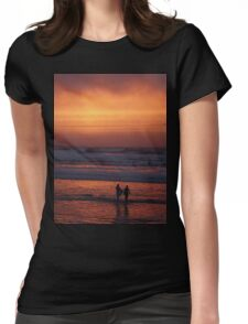 Bodyboarders at Sunset, Rossnowlagh, Co. Donegal Womens Fitted T-Shirt