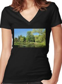 Beautiful Garden Pond Landscape Women's Fitted V-Neck T-Shirt