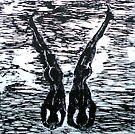"""Yoga Couple 3 - Woodcut by Belinda """"BillyLee"""" NYE (Printmaker)"""
