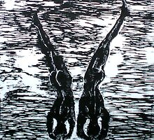 "Yoga Couple 3 - Woodcut by Belinda ""BillyLee"" NYE (Printmaker)"