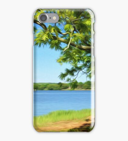Painterly Landscape and Riverscape of a Mystic River Dock iPhone Case/Skin