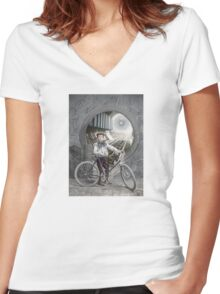 Boy on the Threshold Women's Fitted V-Neck T-Shirt