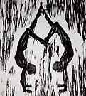 """Yoga Couple 2 - Woodcut by Belinda """"BillyLee"""" NYE (Printmaker)"""