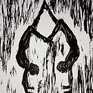 "Yoga Couple 2 - Woodcut by Belinda ""BillyLee"" NYE (Printmaker)"