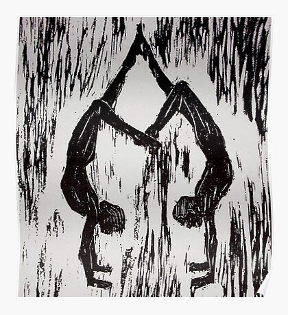 Yoga Couple 2 - Woodcut Poster