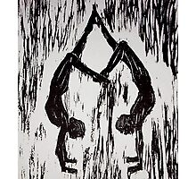 Yoga Couple 2 - Woodcut Photographic Print