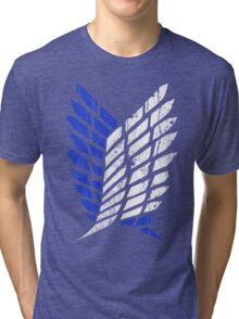 Attack On Titan - Survey Corps Logo (Blue Grunge v3) Tri-blend T-Shirt