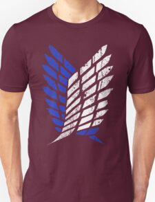 Attack On Titan - Survey Corps Logo (Blue Grunge v3) Unisex T-Shirt