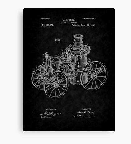 1896 Tarr Steam Fire Engine Patent Art-BK Canvas Print