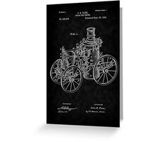 1896 Tarr Steam Fire Engine Patent Art-BK Greeting Card