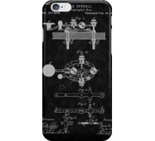 1881 Telegraph Key Patent Art-BK iPhone Case/Skin