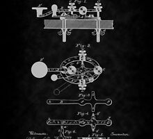 1881 Telegraph Key Patent Art-BK by Barry  Jones