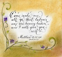 Inspirational handwritten verse Matthew 11:28 art by Melissa Goza