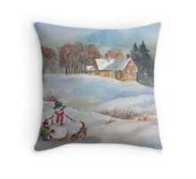 Winter Playmates Throw Pillow