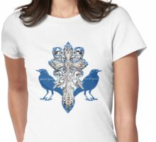 Ravens and Ancient Cross Womens Fitted T-Shirt