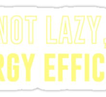 I'm Not Lazy I'm Energy Efficient Sticker