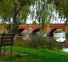 Seated In Time - The Red Bridge Campbelltown (C1838)Tasmania, Australia by Philip Johnson