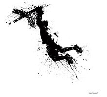 Basketball player dunk inked Photographic Print