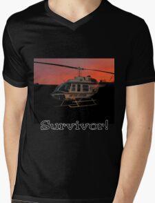 Air Evac Helicopter-Survivor Mens V-Neck T-Shirt