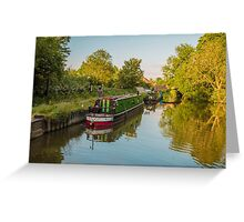 Canal Boats on the River Lee at Harlow Mill Essex UK Greeting Card