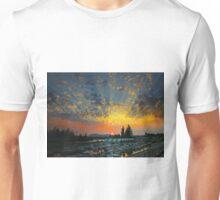 Sunset cloudbursts at the marina. Unisex T-Shirt