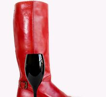 Red Boot and Wine by doorfrontphotos