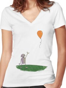 Sad Robot - The Balloon Women's Fitted V-Neck T-Shirt