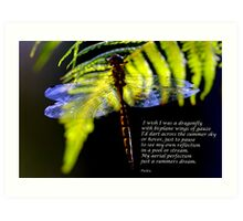 Dragonfly poem. Art Print