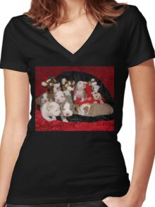 Waiting For Santa Women's Fitted V-Neck T-Shirt