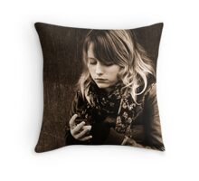 Text message girl Throw Pillow