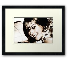 Katy interupted in her book reading Framed Print